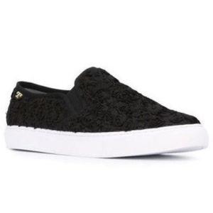 Size 9.5 Tory Burch Rosette Black Floral Slip On